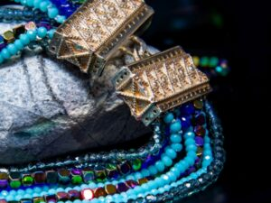 collana lunga mosaico celeste